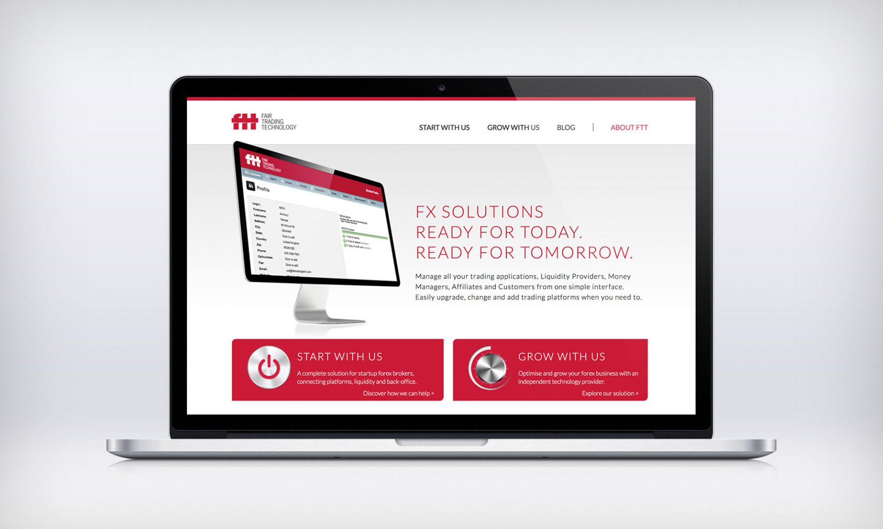 Fair Trading technology's B2B home page.