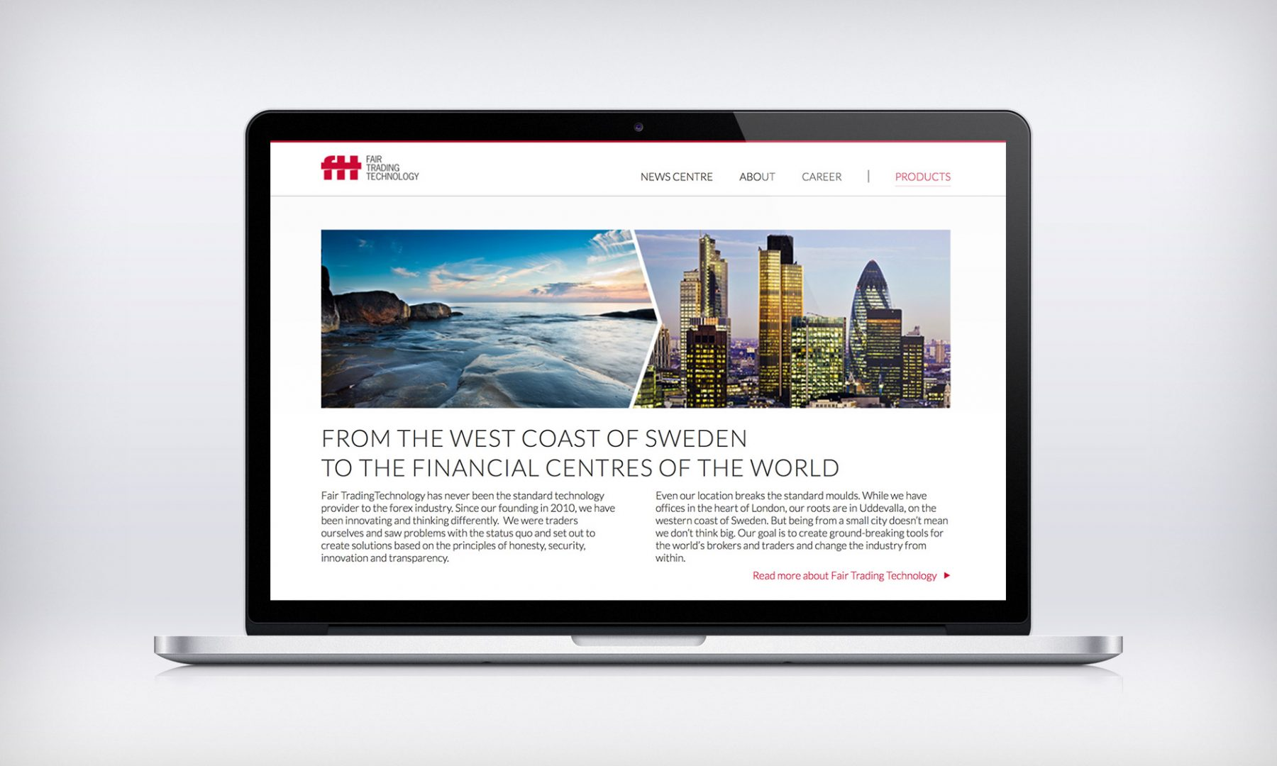 Fair Trading Technology's Corporate home page, which was separated from the rest of the site to keep visitors focused on the product.