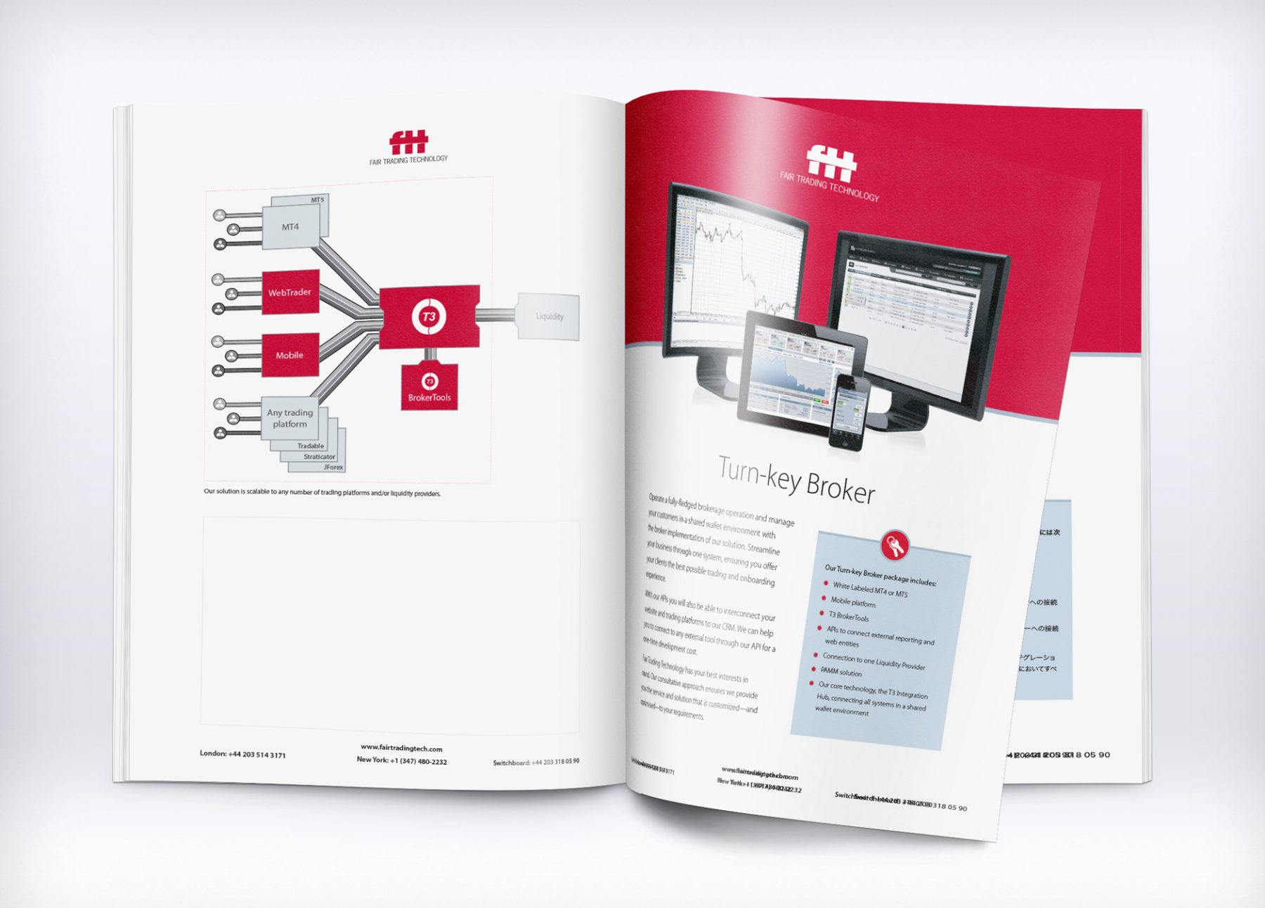 Two-page product information sheets were created for customer sales meetings and trade shows, produced in English, Japanese and Chinese.
